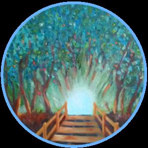 licht tussen de bomen, schilderij Leo Stoute