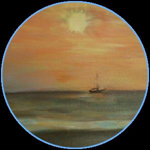 schilderij Leo Stoute, boot op het water in het zonlicht